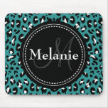 Monogrammed Teal Black White Leopard Pattern Mouse Pad