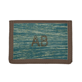 Monogrammed Teal Blue Abstract Pattern Trifold Wallet