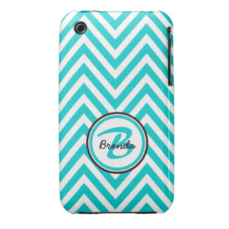 MONOGRAMMED TEAL BLUE CHEVRON PATTERN iPhone 3 COVERS