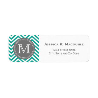 Monogrammed Teal Blue & Grey Chevron Label