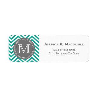 Monogrammed Teal Blue & Grey Chevron Label