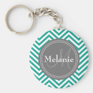 Monogrammed Teal Blue & Grey Zigzag Key Chains