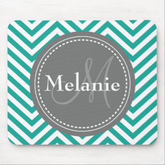 Monogrammed Teal Blue & Grey Zigzag Mouse Pad