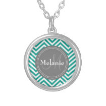 Monogrammed Teal Blue & Grey Zigzag Silver Plated Necklace