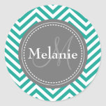 Monogrammed Teal Blue & Grey Zigzag Stickers