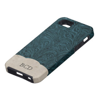 Monogrammed Teal Blue Leather Look Rustic Country iPhone SE/5/5s Case