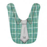 Monogrammed Teal Boy's Shirt Tie Funny Cute Baby Bib