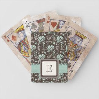 Monogrammed Teal Brown Damask Deck Of Cards