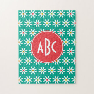Monogrammed Teal Daisy Dots Jigsaw Puzzle