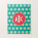 Monogrammed Teal Daisy Dots Jigsaw Puzzles