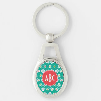 Monogrammed Teal Daisy Dots Keychains
