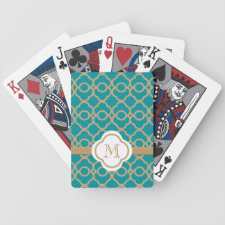 Monogrammed Teal Gold Moroccan Bicycle Playing Cards