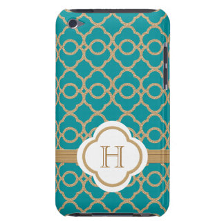 Monogrammed Teal Gold Moroccan iPod Case-Mate Cases