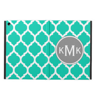 Monogrammed Teal Gray Moroccan Lattice Cover For iPad Air