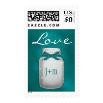 Monogrammed Teal Mason Jar with Fireflies Love Postage