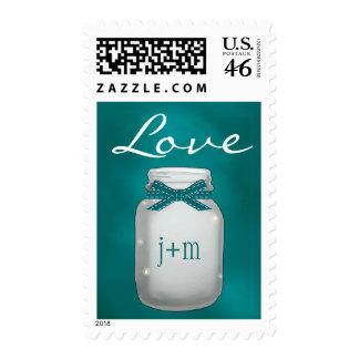 Monogrammed Teal Mason Jar with Fireflies Love Postage Stamp