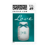 Monogrammed Teal Mason Jar with Fireflies Love Postage Stamps
