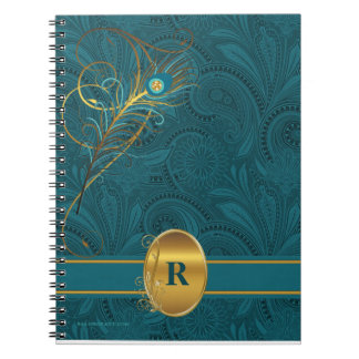 Monogrammed Teal Peacock for the Writer Notebook