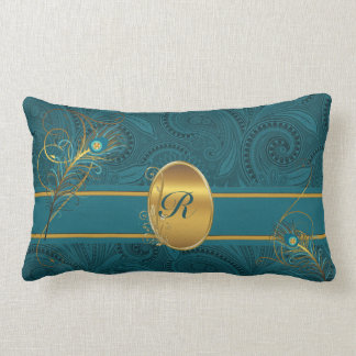 Monogrammed Teal Peacock with Gold 2-Sided Lumbar Pillow