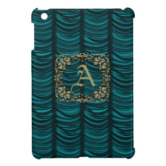 Monogrammed Teal Silk Effect & Gold iPad Mini Covers