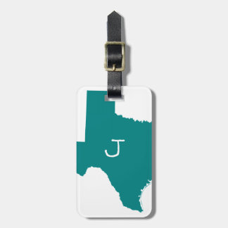 Monogrammed Teal Texas Bag Tag