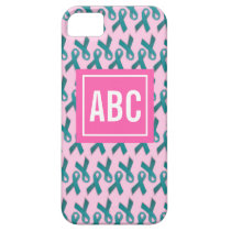 Monogrammed Teal/Turquoise Ribbon Cell Phone Case