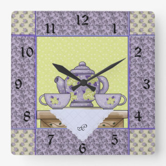 Monogrammed Teapot Quilt Patch Wall Clock
