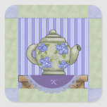 Monogrammed Teapot Quilt Square Sticker