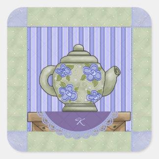 Monogrammed Teapot Quilt Square Sticker