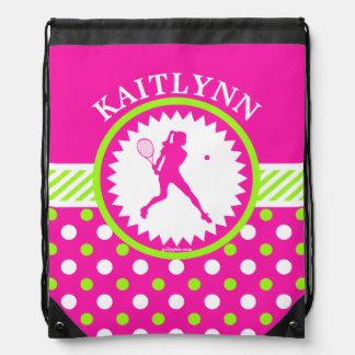 Monogrammed Tennis Pink - Green Polka-Dots Drawstring Bag
