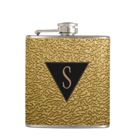 Monogrammed Textured Gold Flask