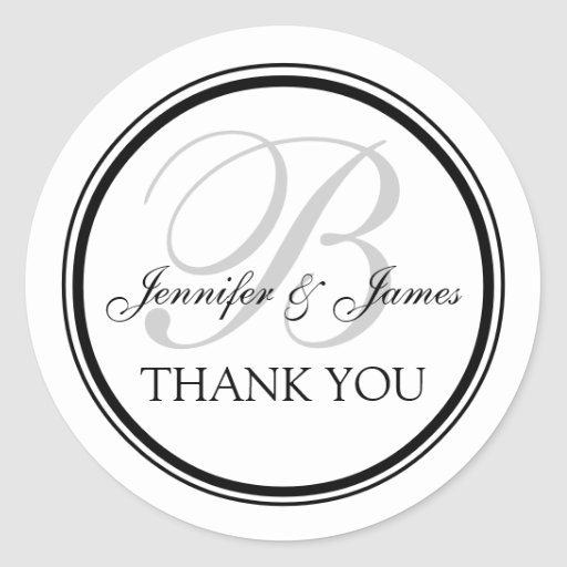 Monogrammed Thank You for Weddings Classic Round Sticker