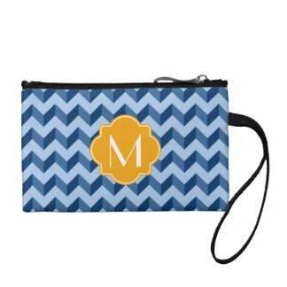 Monogrammed Tiffany and Navy Blue Modern Chevron Coin Purse