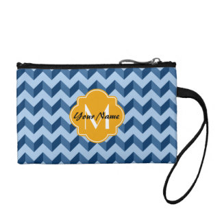 Monogrammed Tiffany and Navy Blue Modern Chevron Coin Wallet