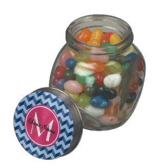 Monogrammed Tiffany and Navy Blue Modern Chevron Glass Candy Jar