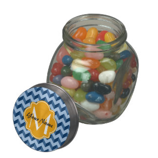 Monogrammed Tiffany and Navy Blue Modern Chevron Jelly Belly Candy Jar