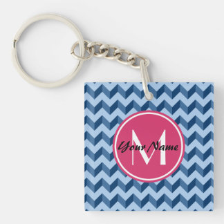 Monogrammed Tiffany and Navy Blue Modern Chevron Double-Sided Square Acrylic Keychain
