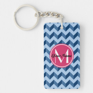 Monogrammed Tiffany and Navy Blue Modern Chevron Double-Sided Rectangular Acrylic Keychain