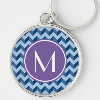 Monogrammed Tiffany and Navy Blue Modern Chevron Silver-Colored Round Keychain