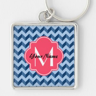 Monogrammed Tiffany and Navy Blue Modern Chevron Silver-Colored Square Keychain