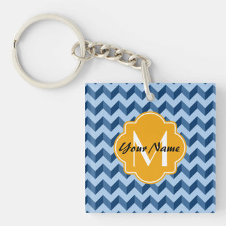 Monogrammed Tiffany and Navy Blue Modern Chevron Single-Sided Square Acrylic Keychain