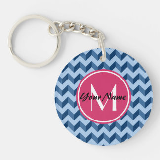 Monogrammed Tiffany and Navy Blue Modern Chevron Single-Sided Round Acrylic Keychain