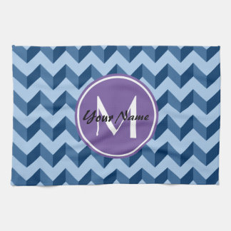 Monogrammed Tiffany and Navy Blue Modern Chevron Hand Towel