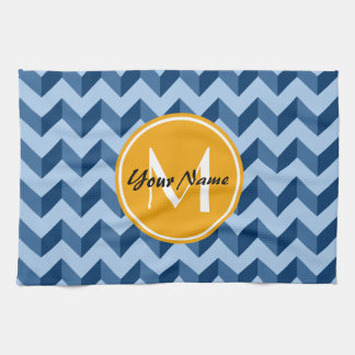 Monogrammed Tiffany and Navy Blue Modern Chevron Kitchen Towel