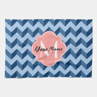 Monogrammed Tiffany and Navy Blue Modern Chevron Kitchen Towels