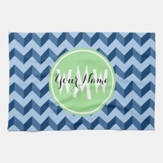 Monogrammed Tiffany and Navy Blue Modern Chevron Towels