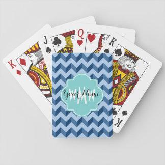 Monogrammed Tiffany and Navy Blue Modern Chevron Card Deck
