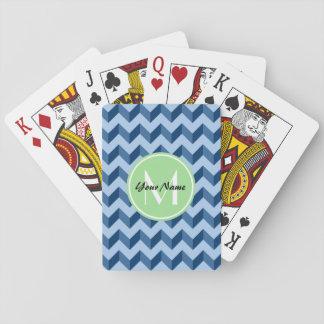 Monogrammed Tiffany and Navy Blue Modern Chevron Poker Cards