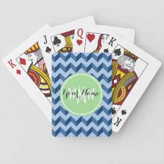 Monogrammed Tiffany and Navy Blue Modern Chevron Deck Of Cards