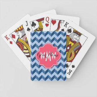 Monogrammed Tiffany and Navy Blue Modern Chevron Poker Deck